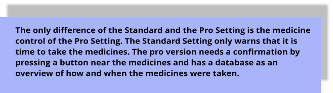 The only difference of the Standard and the Pro Setting is the medicine control of the Pro Setting. The Standard Setting only warns that it is time to take the medicines. The pro version needs a confirmation by pressing a button near the medicines and has a database as an overview of how and when the medicines were taken.
